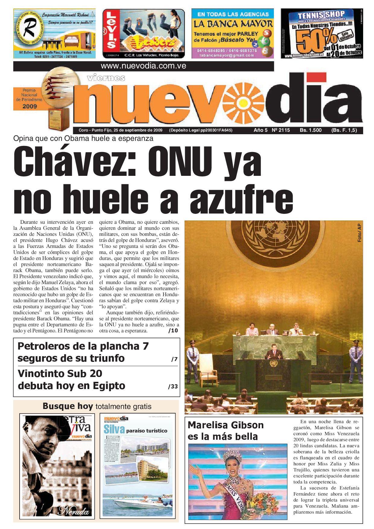 Diario Nuevodia Viernes 25-09-2009 by Diario Nuevo Día - issuu