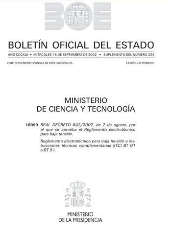 ministerio de industia reglamento electrotcnico para baja tension