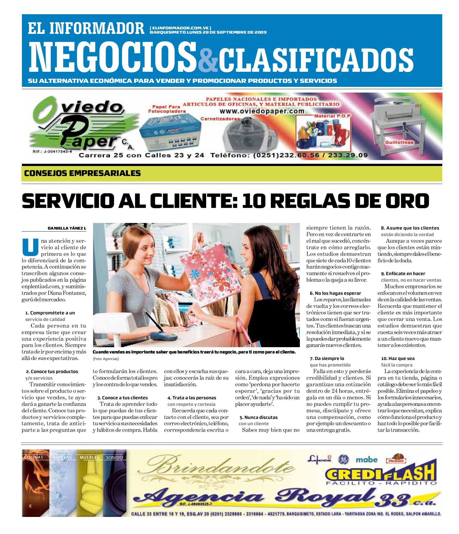 Negocios Y Clasificados 2009 09 28 By El Informador Diario  # Muebles Dangond