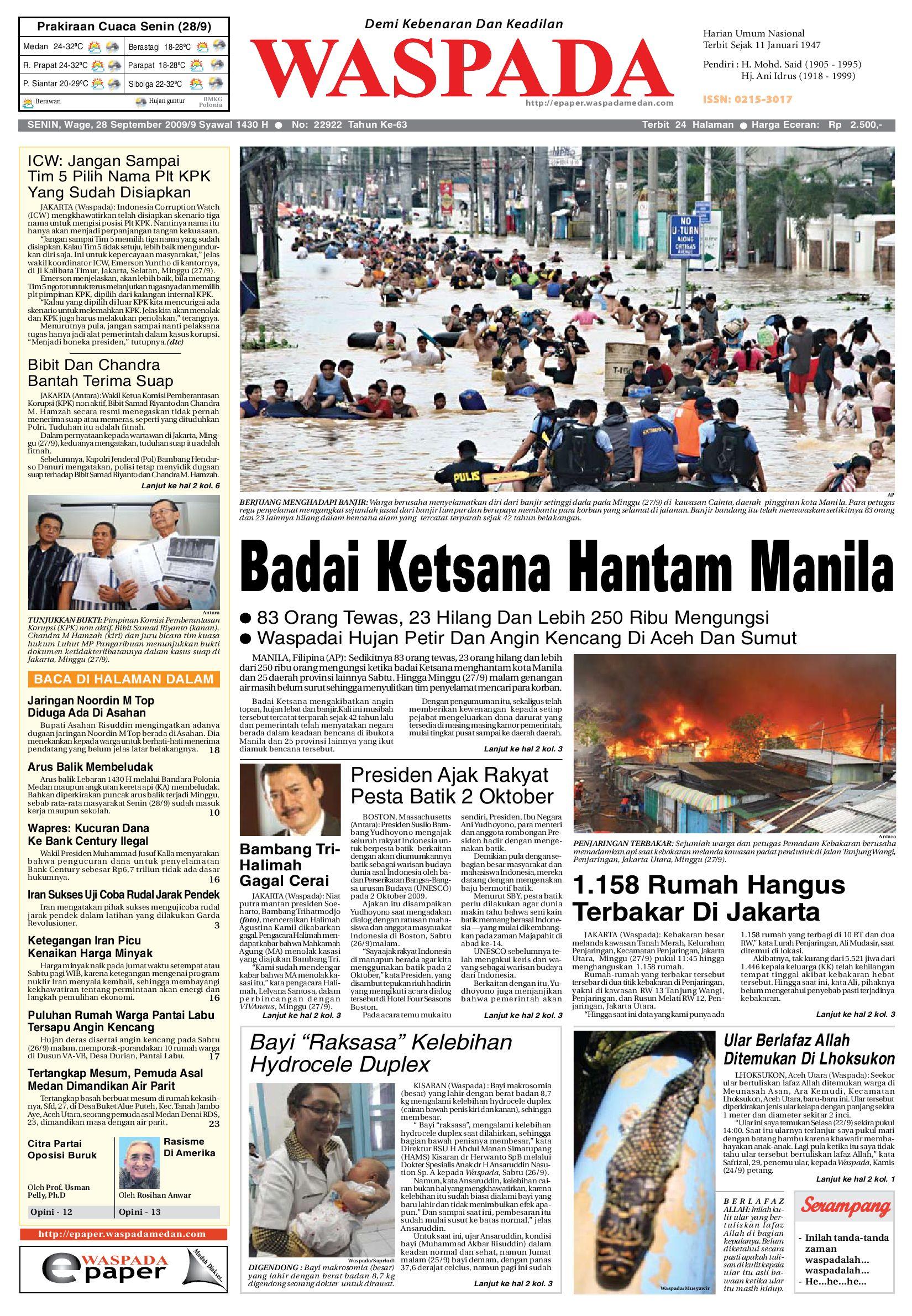 Waspada Senin 28 September 2009 By Harian Waspada Issuu