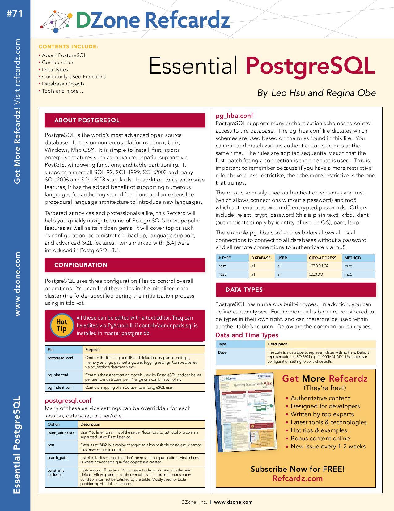 Essential PostgreSQL - Ref Card by Andrew Ross - issuu