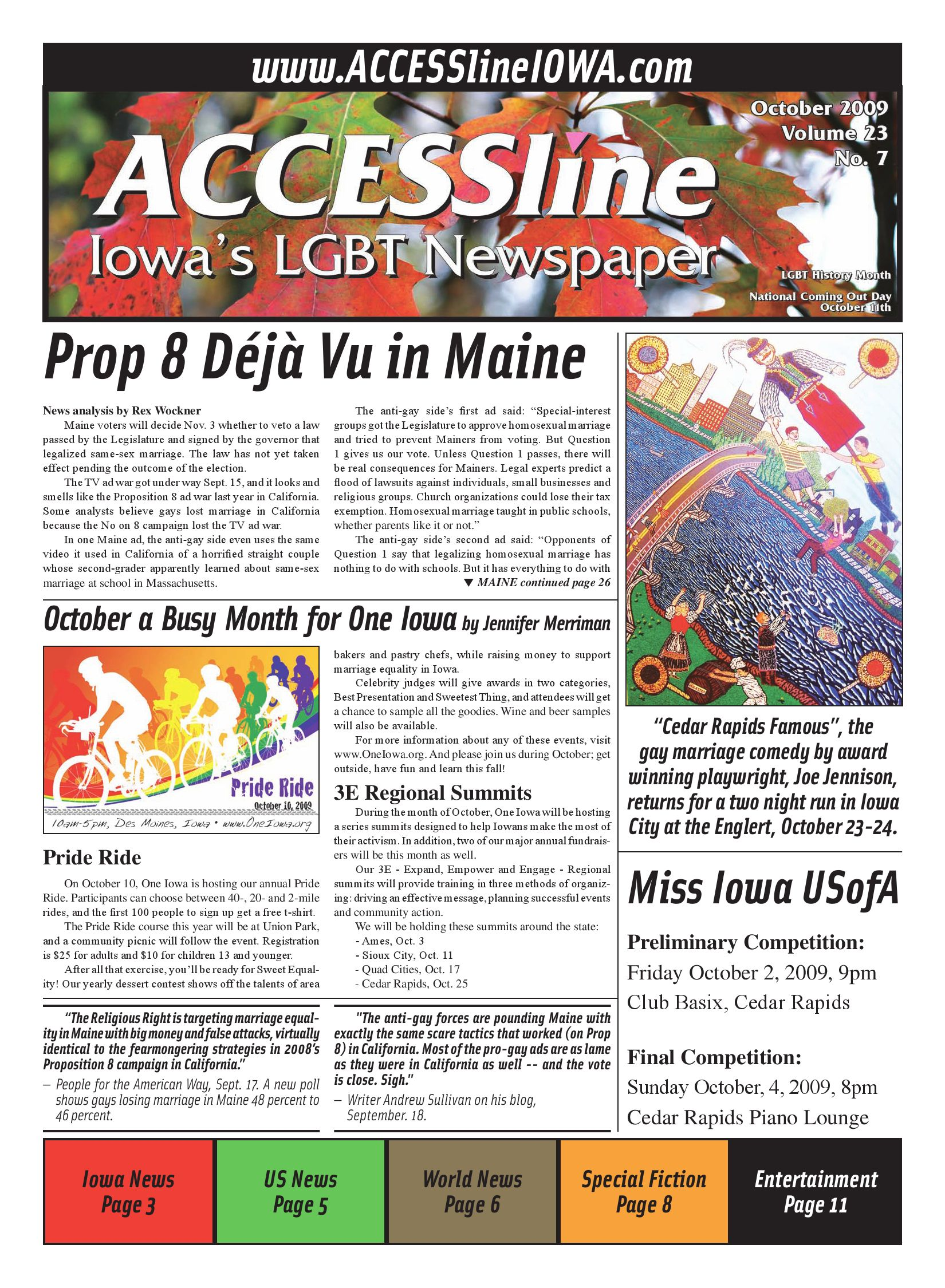ACCESSline, Iowa's LGBT Newspaper, October 2009 Issue, Volume 23 No 7 by  ACCESSline - issuu