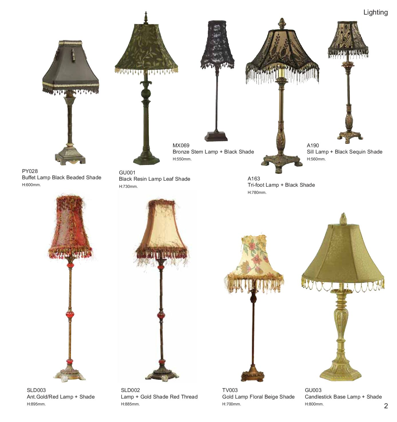 Lampshades Pdf By Carlo Furnishers