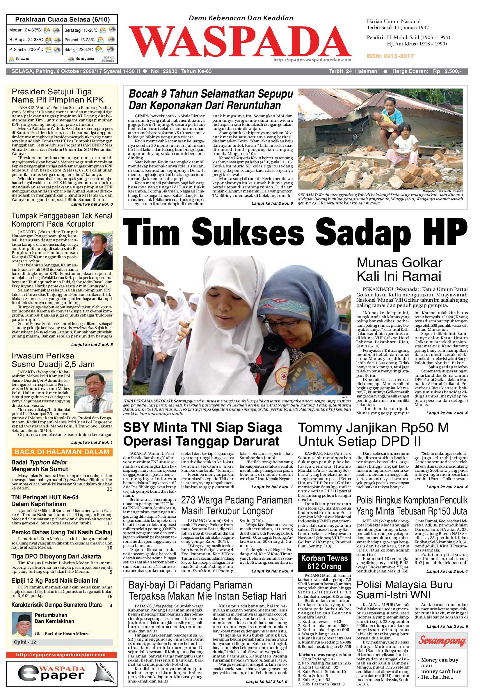 Waspada Selasa 6 Oktober 2009 By Harian Issuu Charger Warna Warni Merk Hasan Sj0048