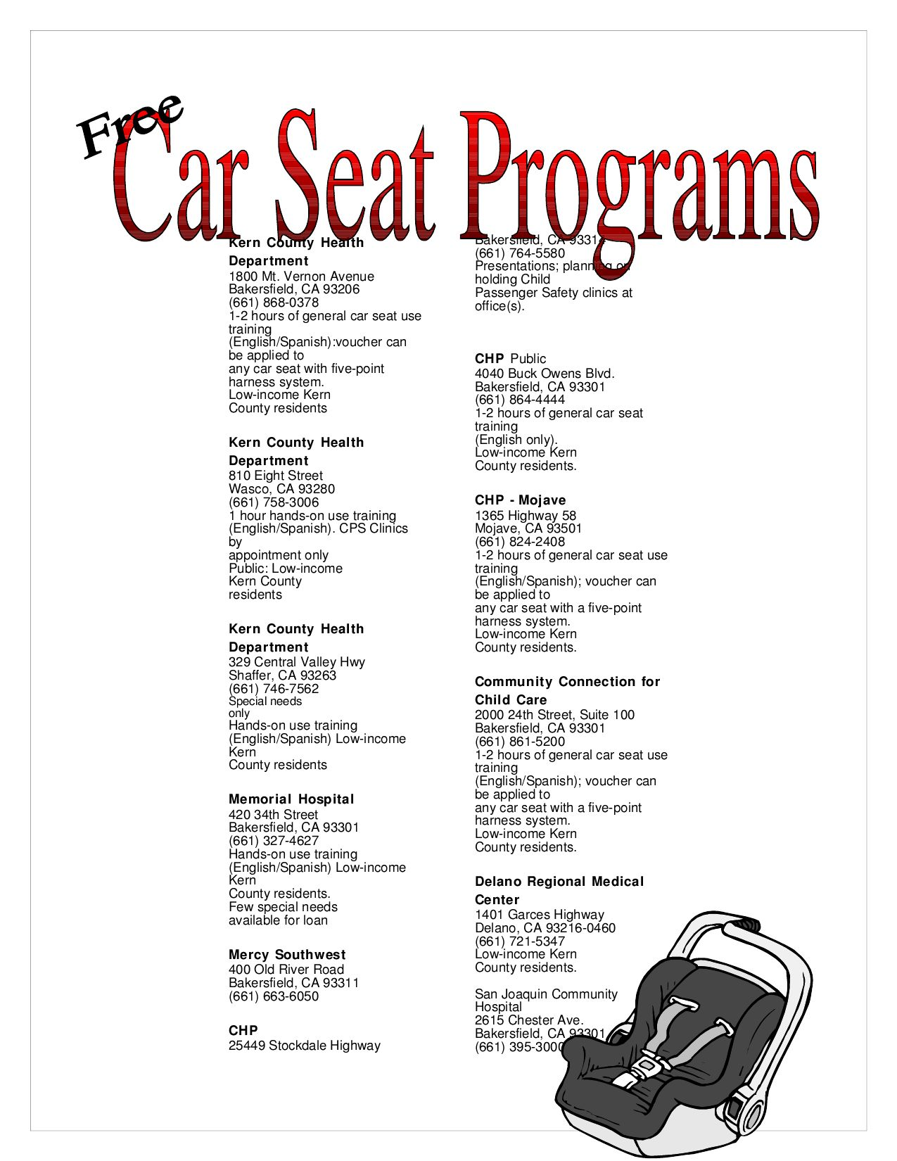 free carseat programs by haven counseling center