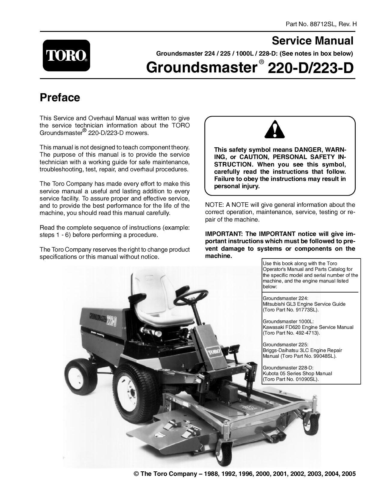 88712sl Pdf Groundsmaster 200 Series Rev H Nov 2005 By Negimachi Issuu