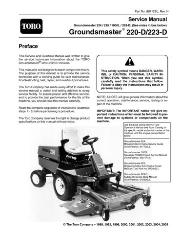 88712sl pdf groundsmaster 200 series rev h nov 2005 by negimachi rh issuu com Toro Groundsmaster Service Manual Toro Groundsmaster for Snow Thrower