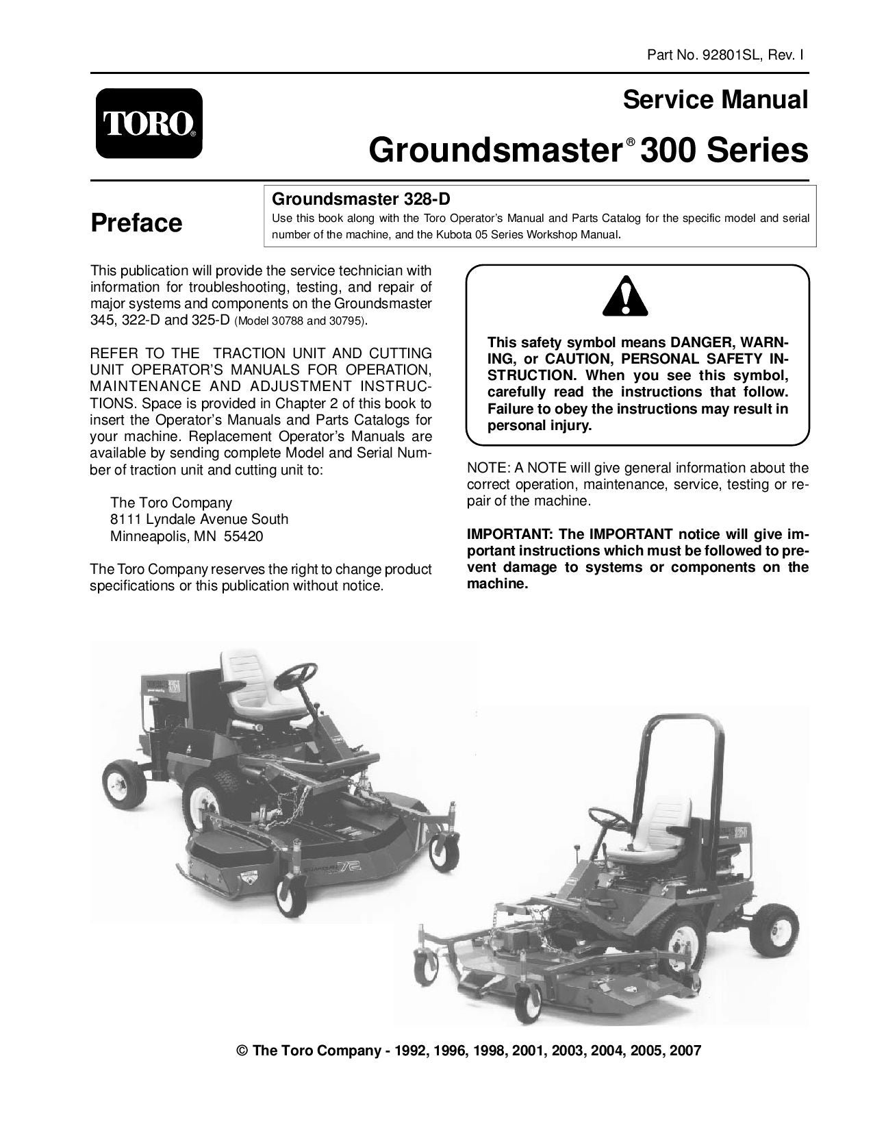 page_1 03116sl pdf groundsmaster 4100 d (model 30411) (rev e) dec, 2007 Toro Groundsmaster 117 Parting Out at gsmx.co
