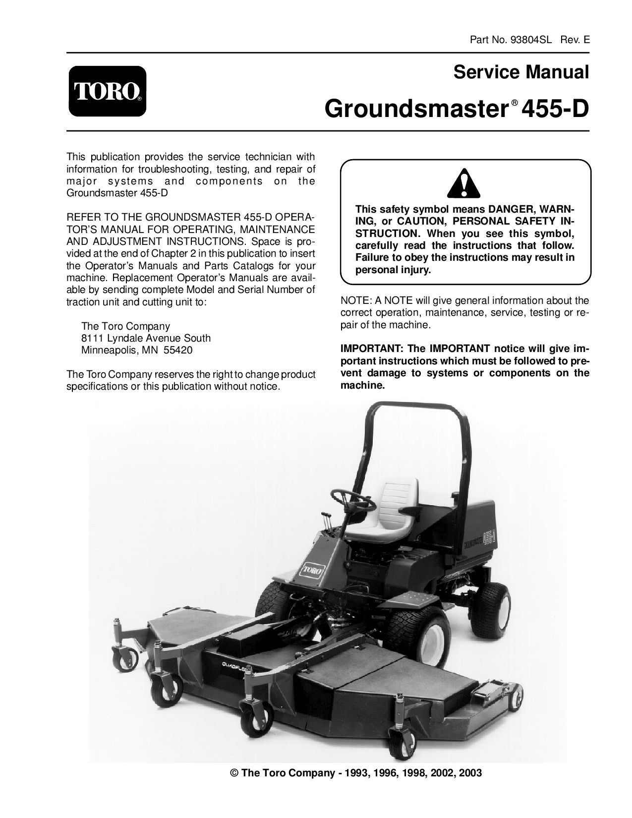 Toro push mower manual array 93804sl pdf groundsmaster 455 d rev e 2003 by negimachi negimachi rh fandeluxe Images