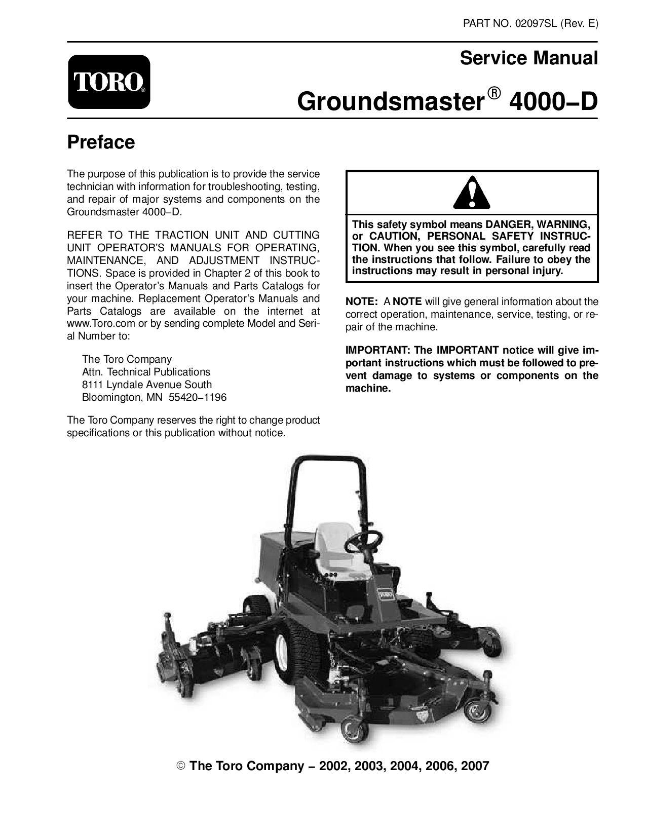 02097sl pdf groundsmaster 4000-d (model 30410) (rev e) dec, 2007 by  negimachi negimachi - issuu