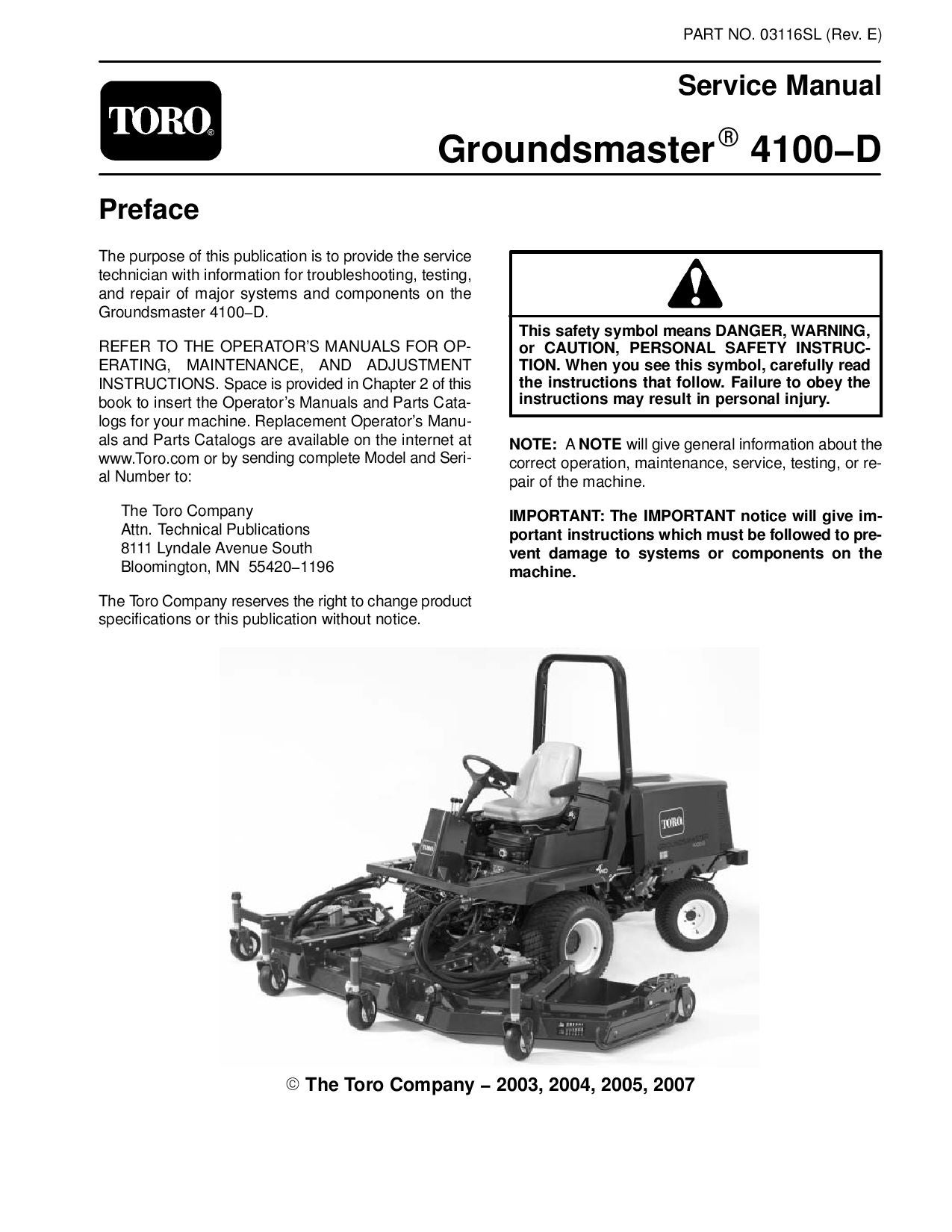 page_1 03116sl pdf groundsmaster 4100 d (model 30411) (rev e) dec, 2007 Toro Groundsmaster 117 Parting Out at eliteediting.co
