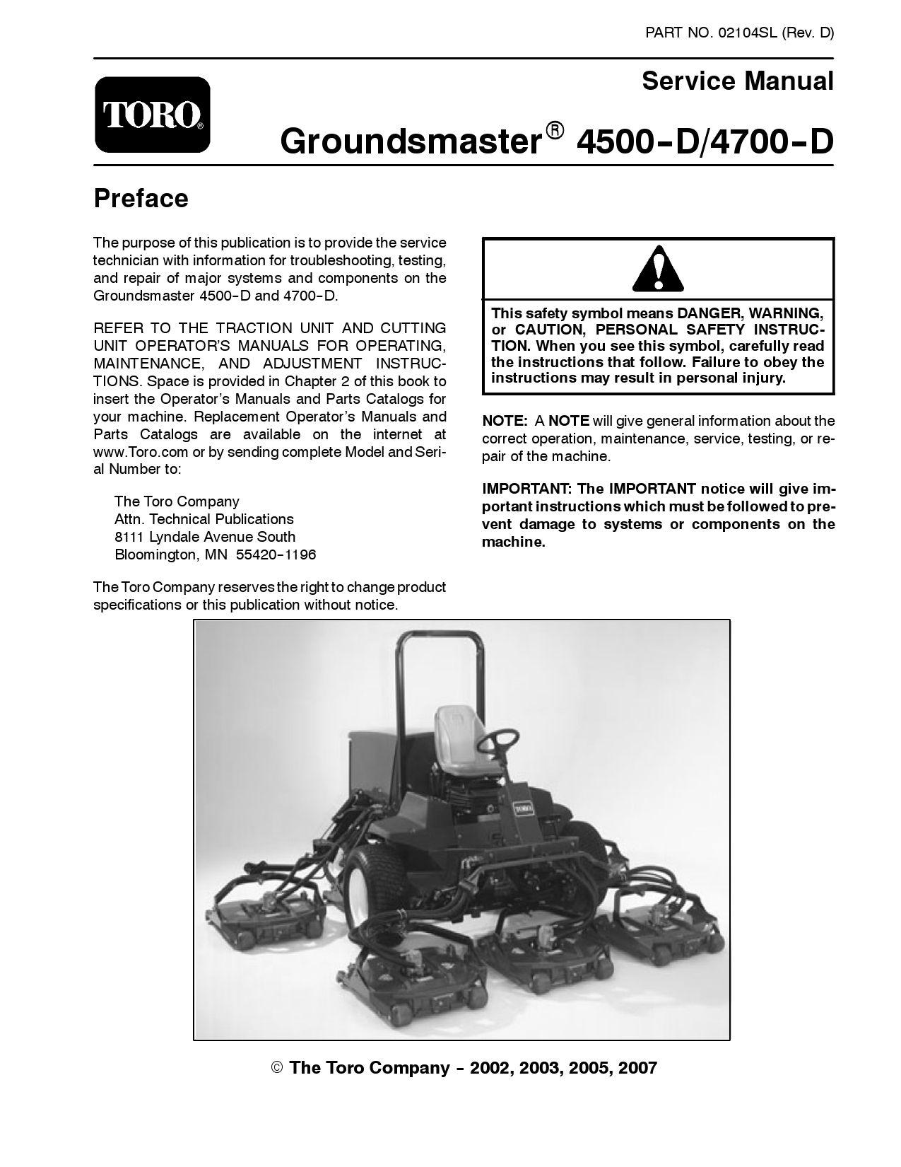 02104slpdf Groundsmaster 4500 D 4700 Model 30856 30868 Rev Toro Workman Wiring Diagram Dec 2007 By Negimachi Issuu