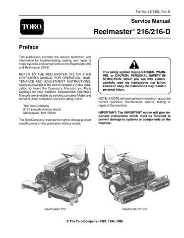 92783sl pdf reelmaster 216 216 d rev b 1996 by negimachi negimachi rh issuu com Toro 2300D Toro 216D