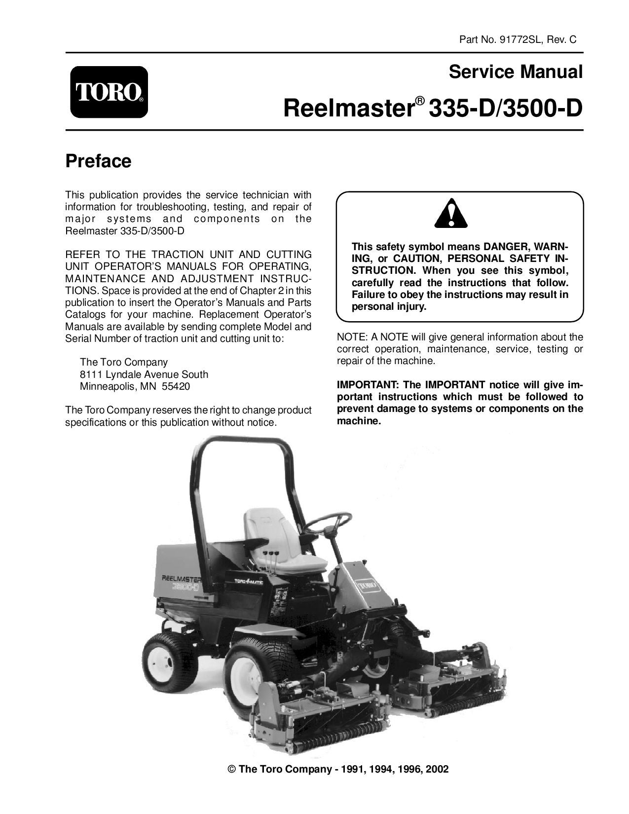 91772sl pdf Reelmaster 335-D/3500-D (Rev C) 2002 by