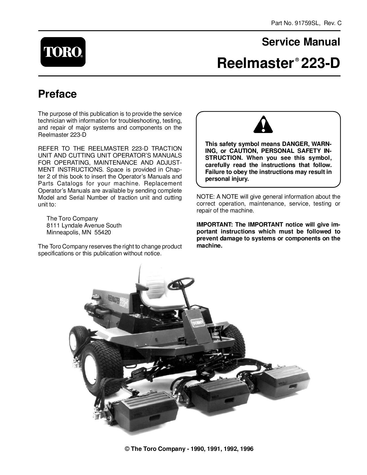 91759sl pdf Reelmaster 223-D (Rev C) 1996 by negimachi negimachi - issuu