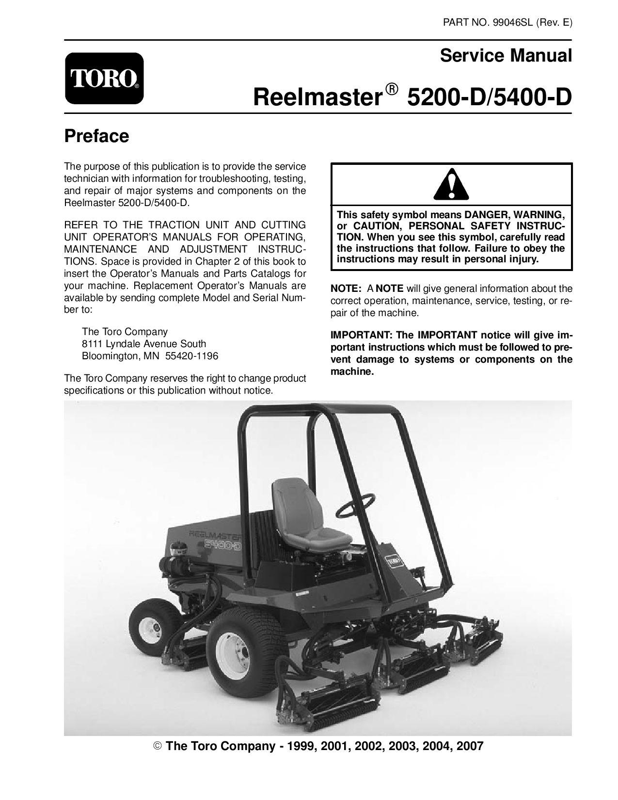 99046sl pdf Reelmaster 5200-D/5400-D (Rev E) Dec, 2007 by