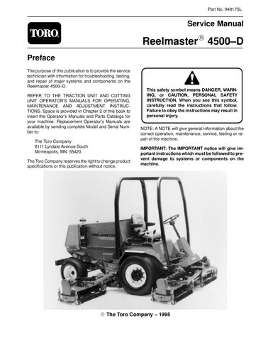 Toro Reelmaster 4500D Filter Service Kit