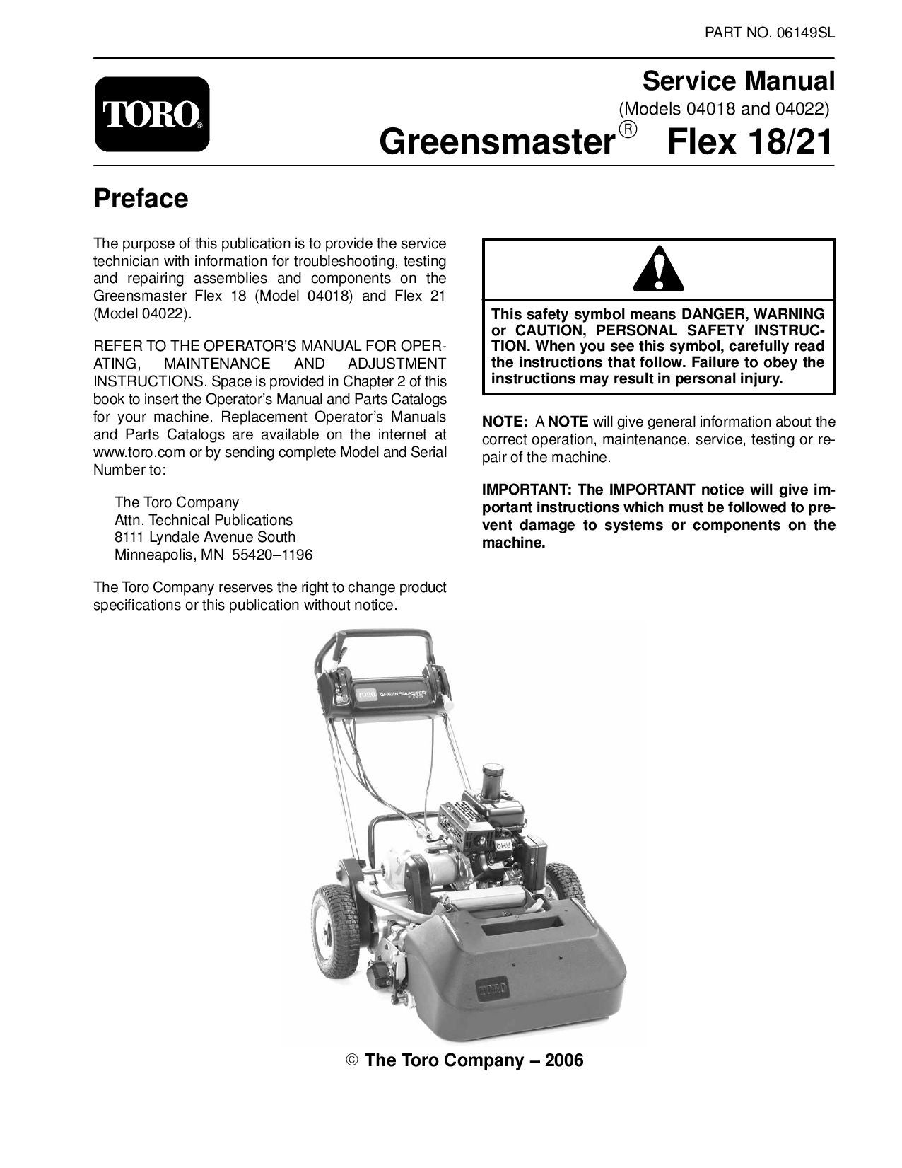 06149sl pdf Greensmaster Flex 18/21 (Model 04018 and 04022) Dec