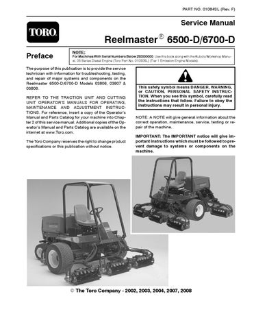 01084sl pdf Reelmaster 6500-D/6700-D (w/Kubota engine) (Rev F) Jan