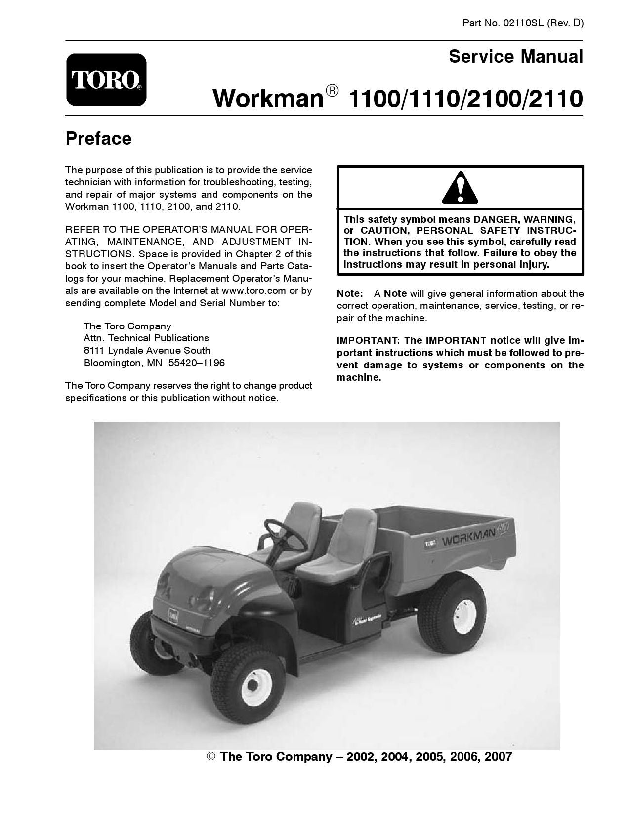 02110slpdf Workman 1100 1110 2100 2110 Rev D Aug 2007 By Wiring Diagram For Toro Blower Negimachi Issuu