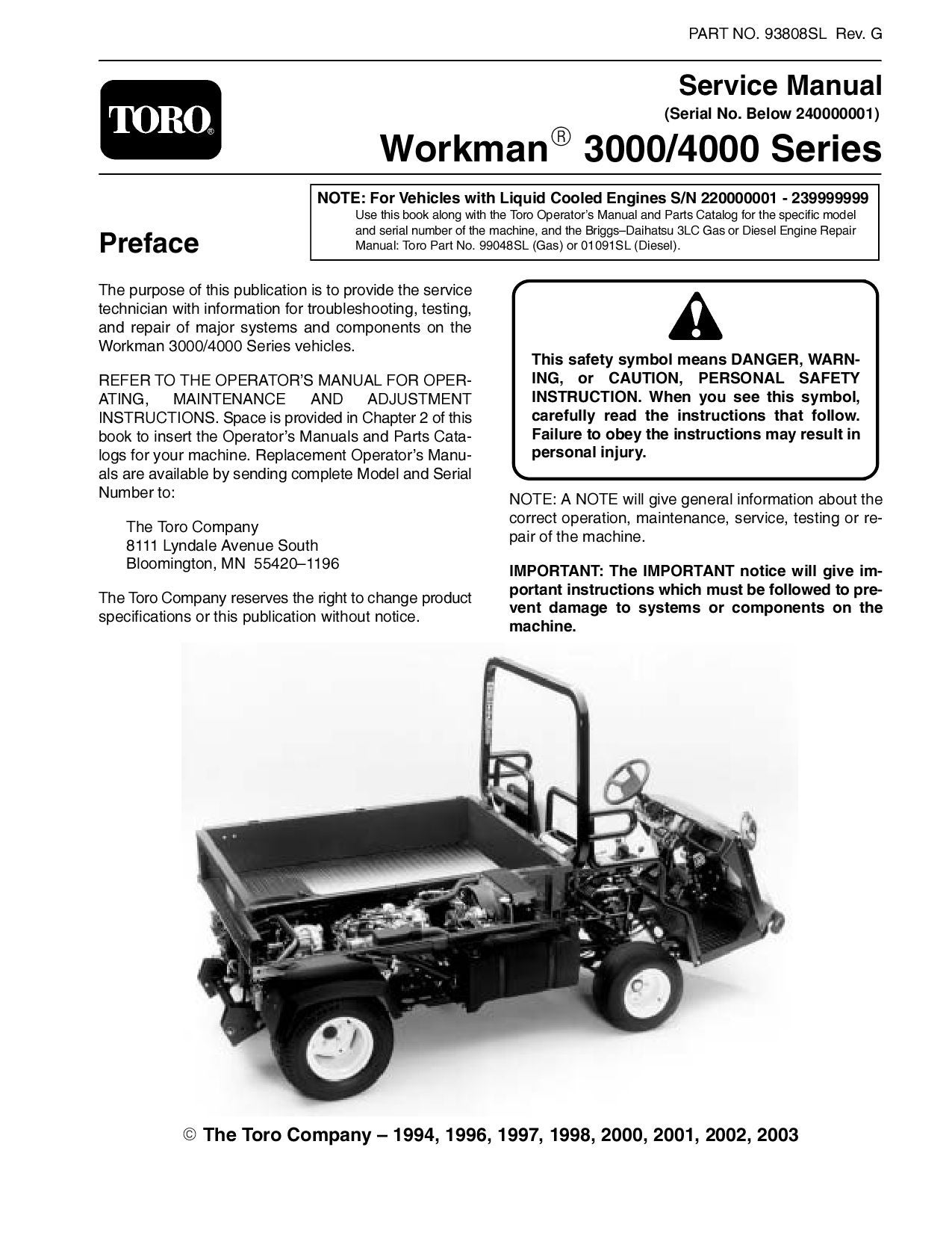 93808sl pdf workman 3000 4000 series (s n below 240000000) (rev g Toro Workman Electric Wiring Diagram 93808sl pdf workman 3000 4000 series (s n below 240000000) (rev g) 2003 by negimachi negimachi issuu
