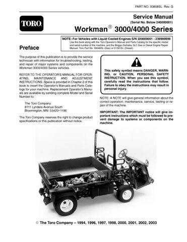 toro workman 3000 4000 series repair service manual