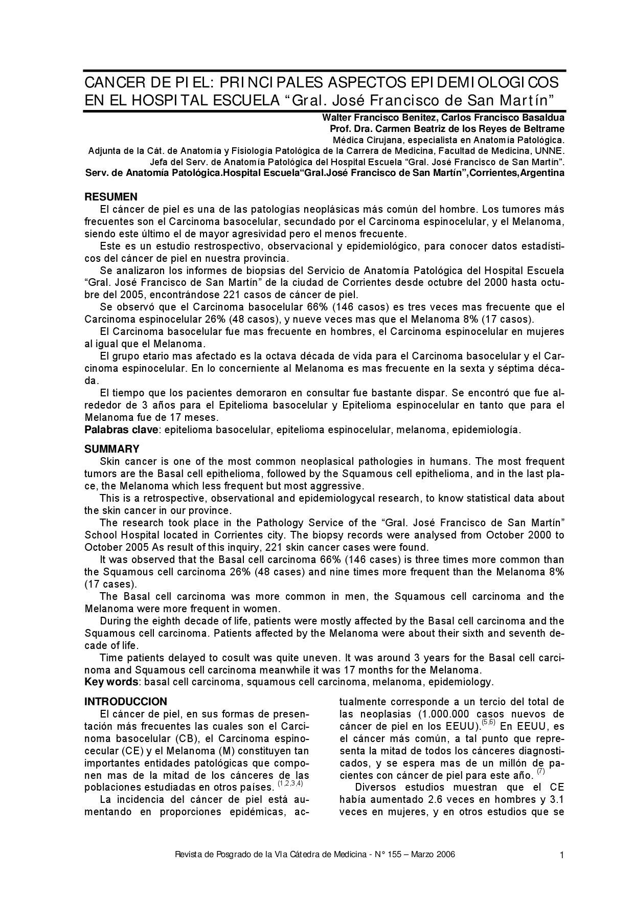 CANCER DE PIEL: PRINCIPALES ASPECTOS EPIDEMIOLOGICOS by Caroll ...