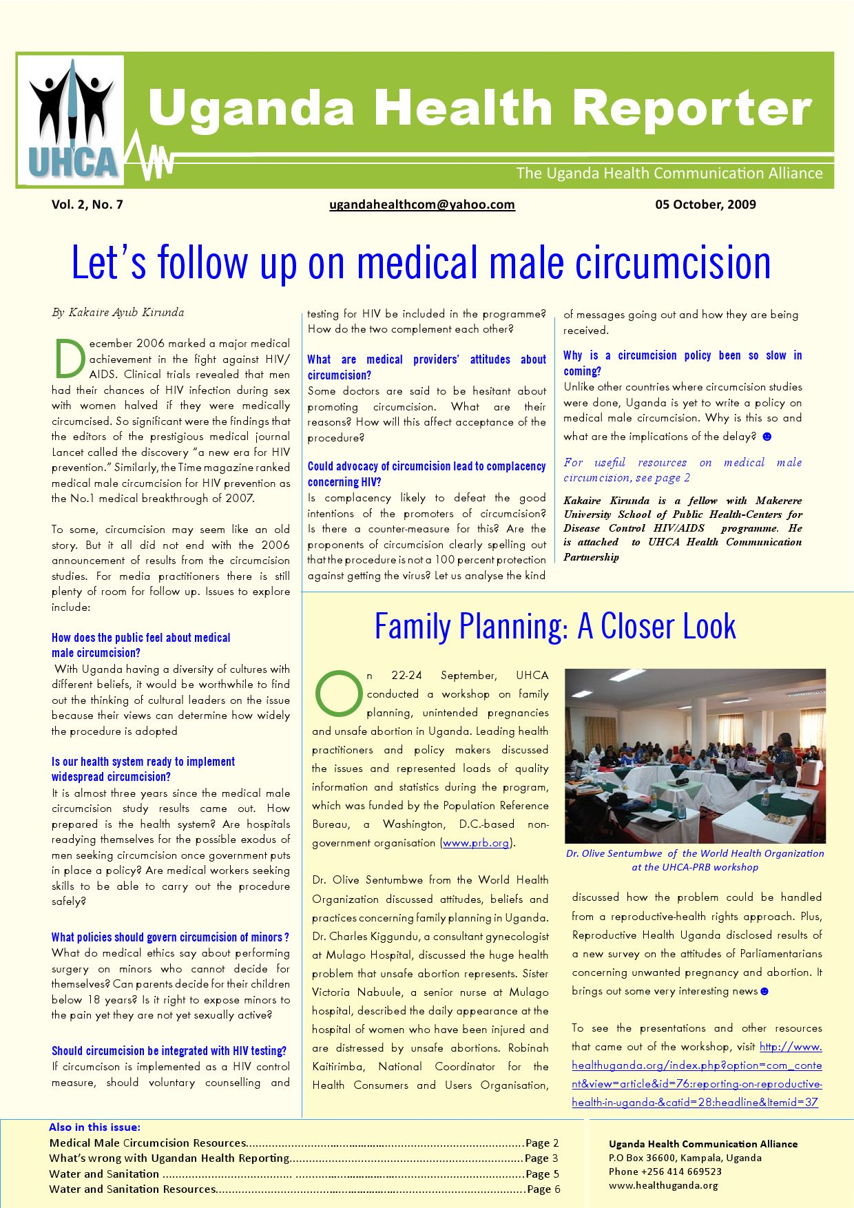 Uganda Health Reporter Newsletter: Vol  2 No  7 by Knight