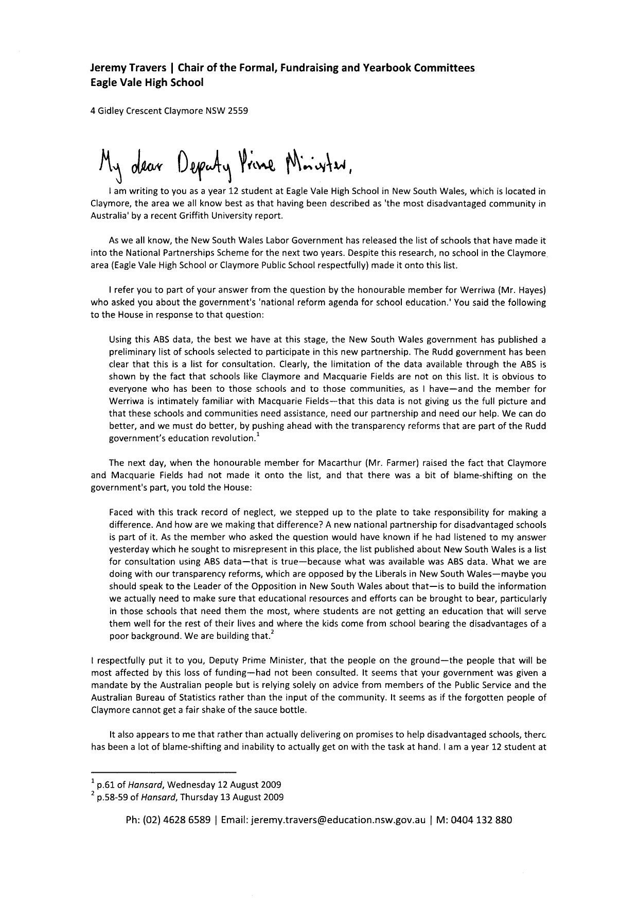 Correspondence to the Deputy Prime Minister by Jeremy Travers - issuu