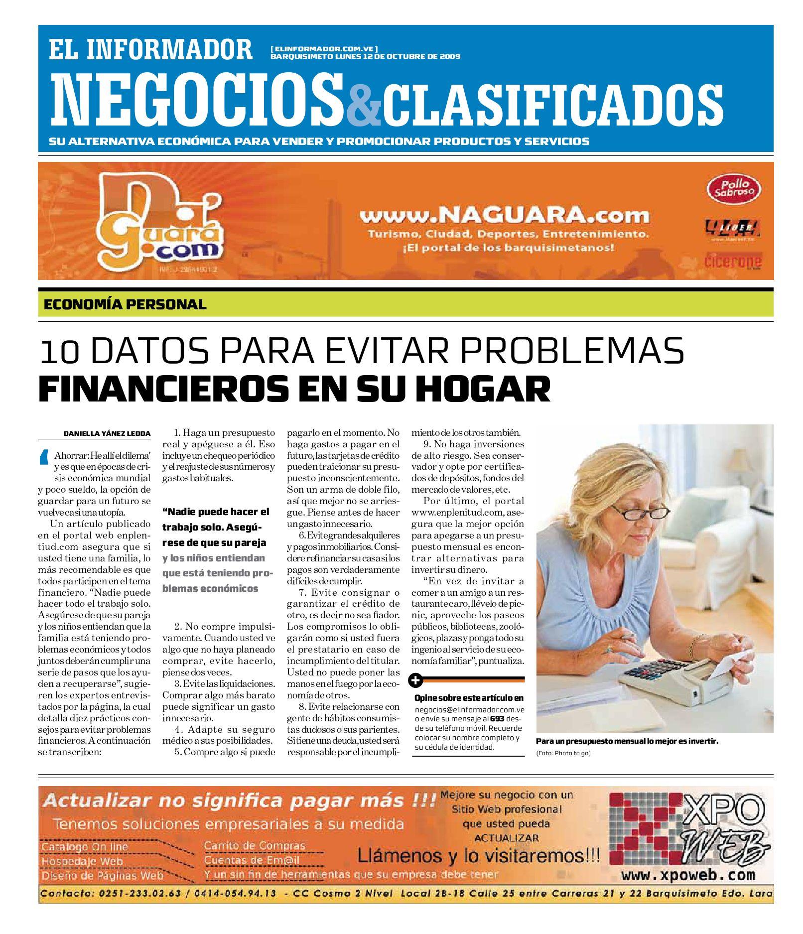 on sale 87928 a03de negocios y clasificados 2009.10.12 by El Informador - Diario online  Venezolano - issuu