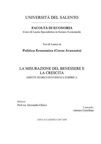 La Misurazione Del Benessere E La Crescita By Aniello De Padova Issuu