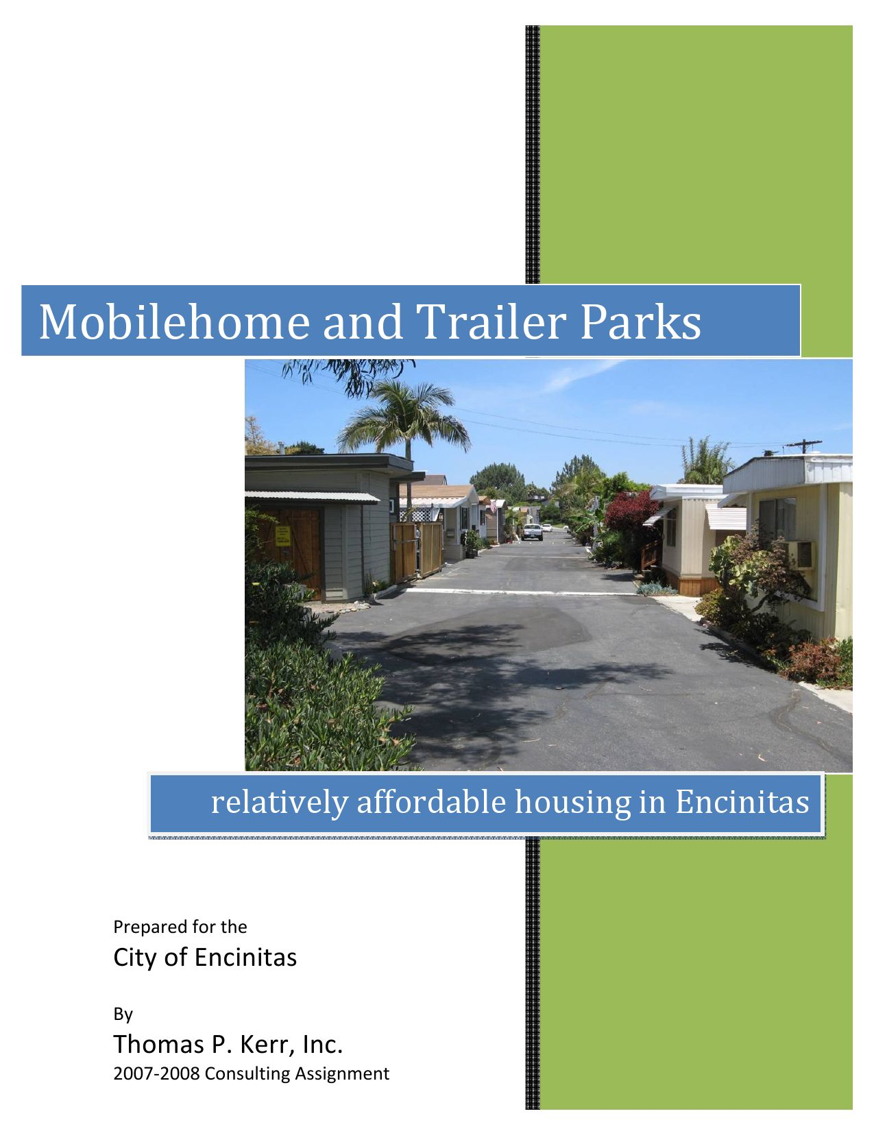 Encinitas Mobilehome And Trailer Park Study