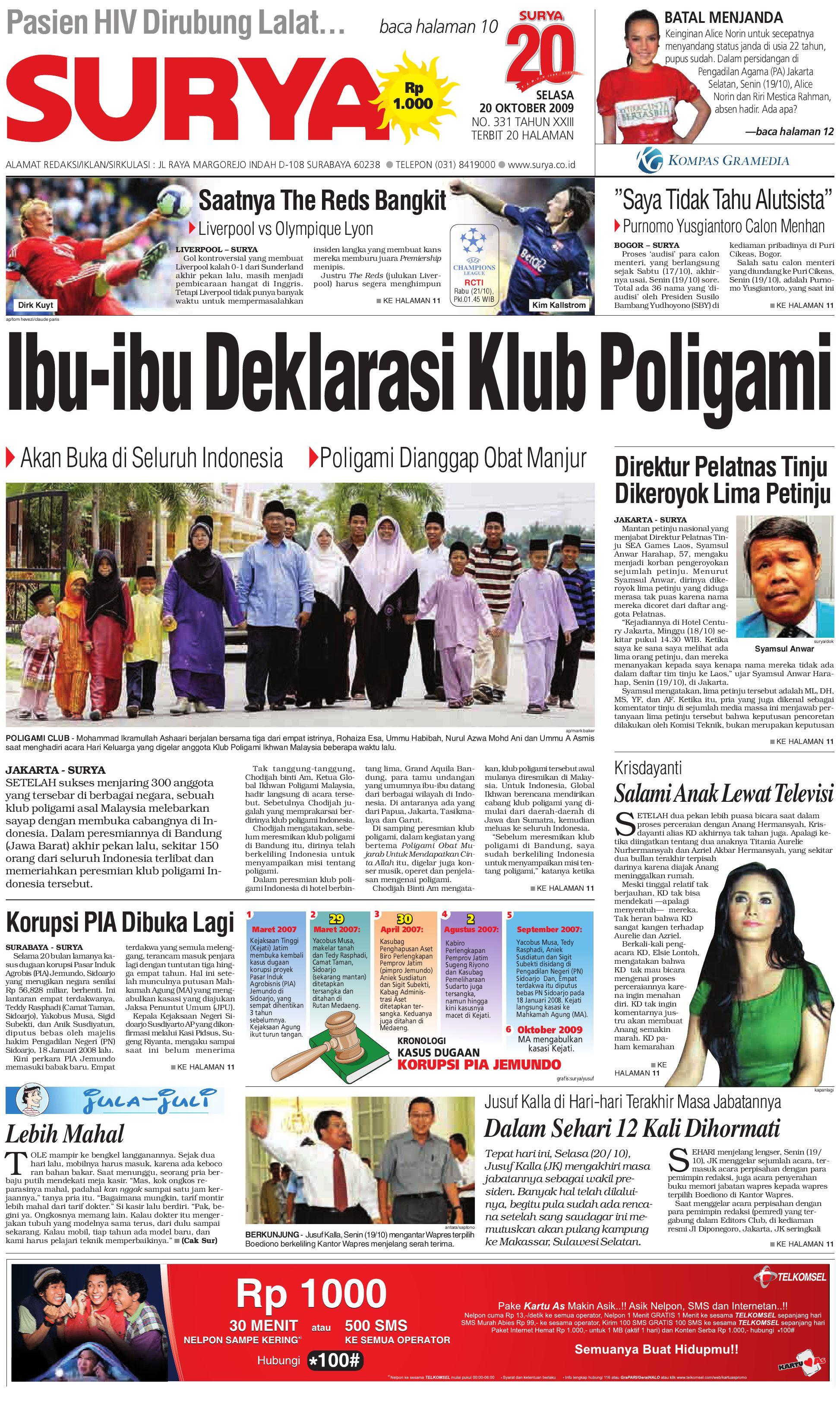 Surya Edsi Cetak 20 Okt 2009 By Harian Issuu Jersey Sepeda Mtb Str Indonesia Prima Bahan Tidak Panas