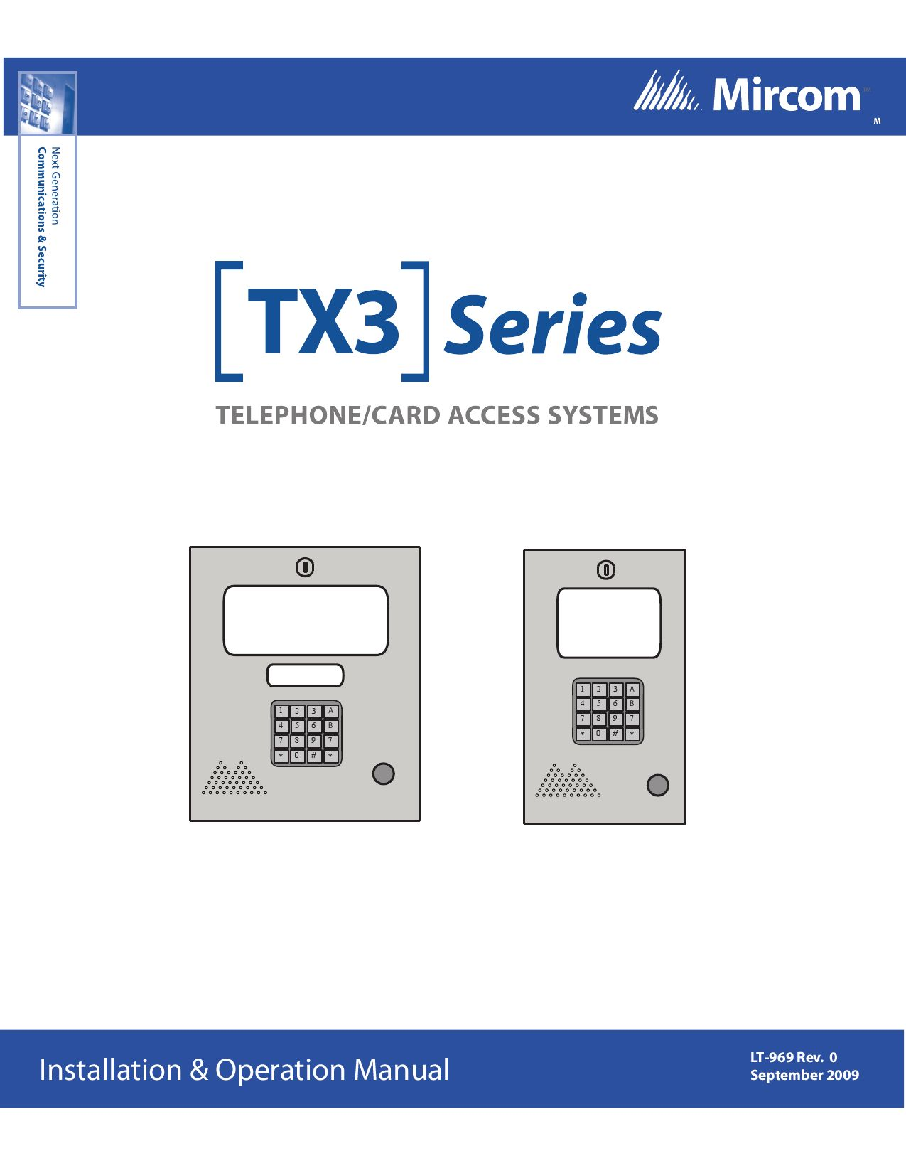 Lt 969 Tx3 Installation And Operation Manual By Mircom Group Of
