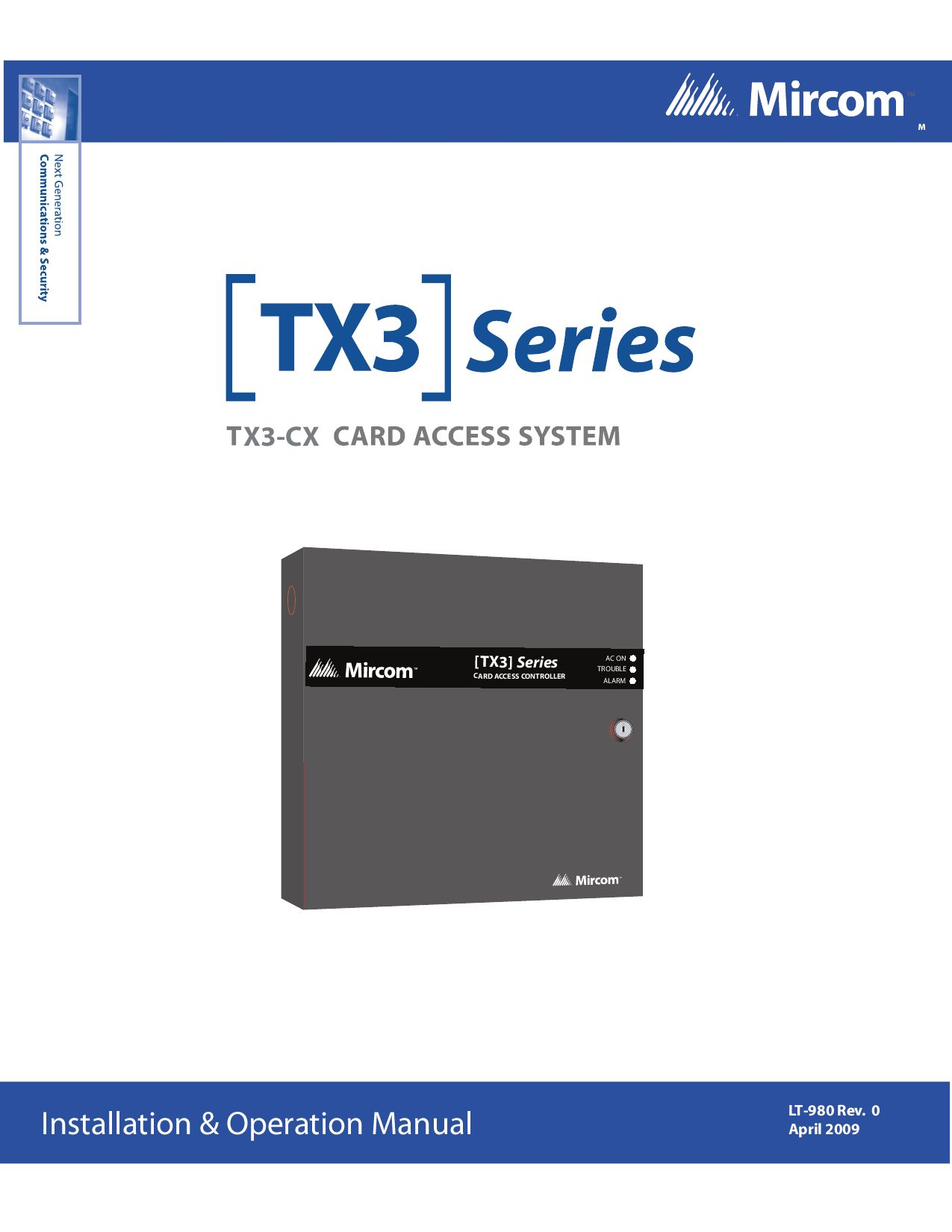 Access Instr lt-980 tx3-cx card access instr rev 0mircom group of