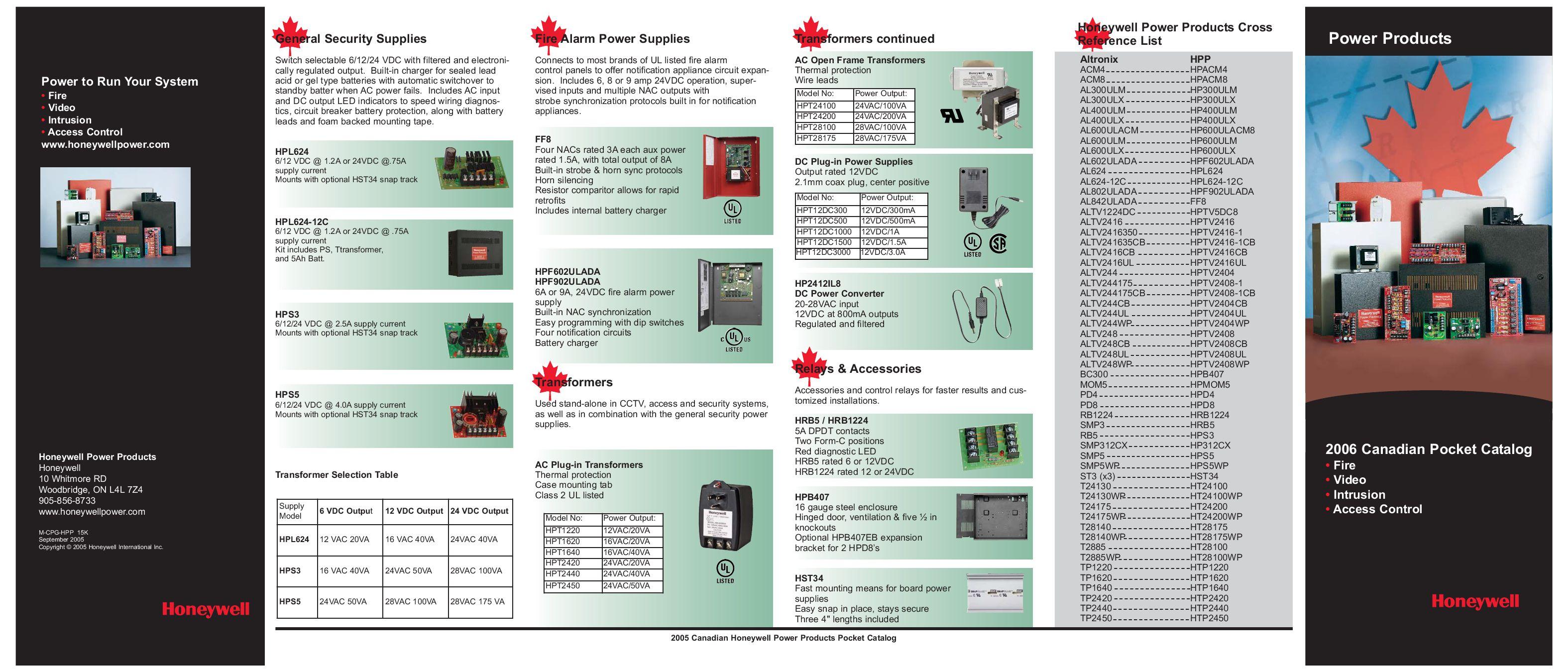 HONEYWELL HP600ULX 6AMP UL POWER SUPPLY//CHARGER 12//24VDC