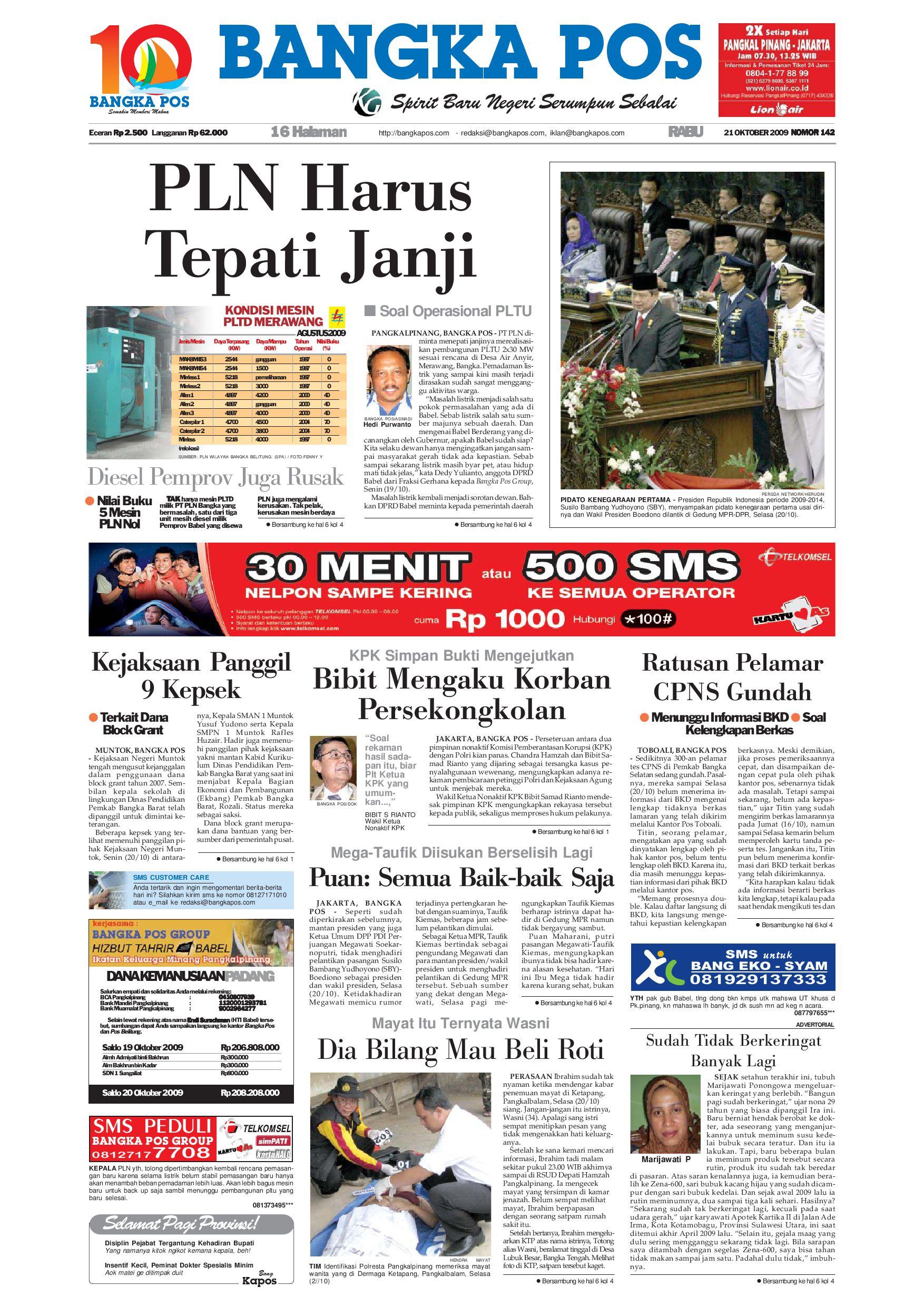 Harian Pagi Bangka Pos Edisi 21 Oktober 2009 by bangka pos - issuu 635112e2bb