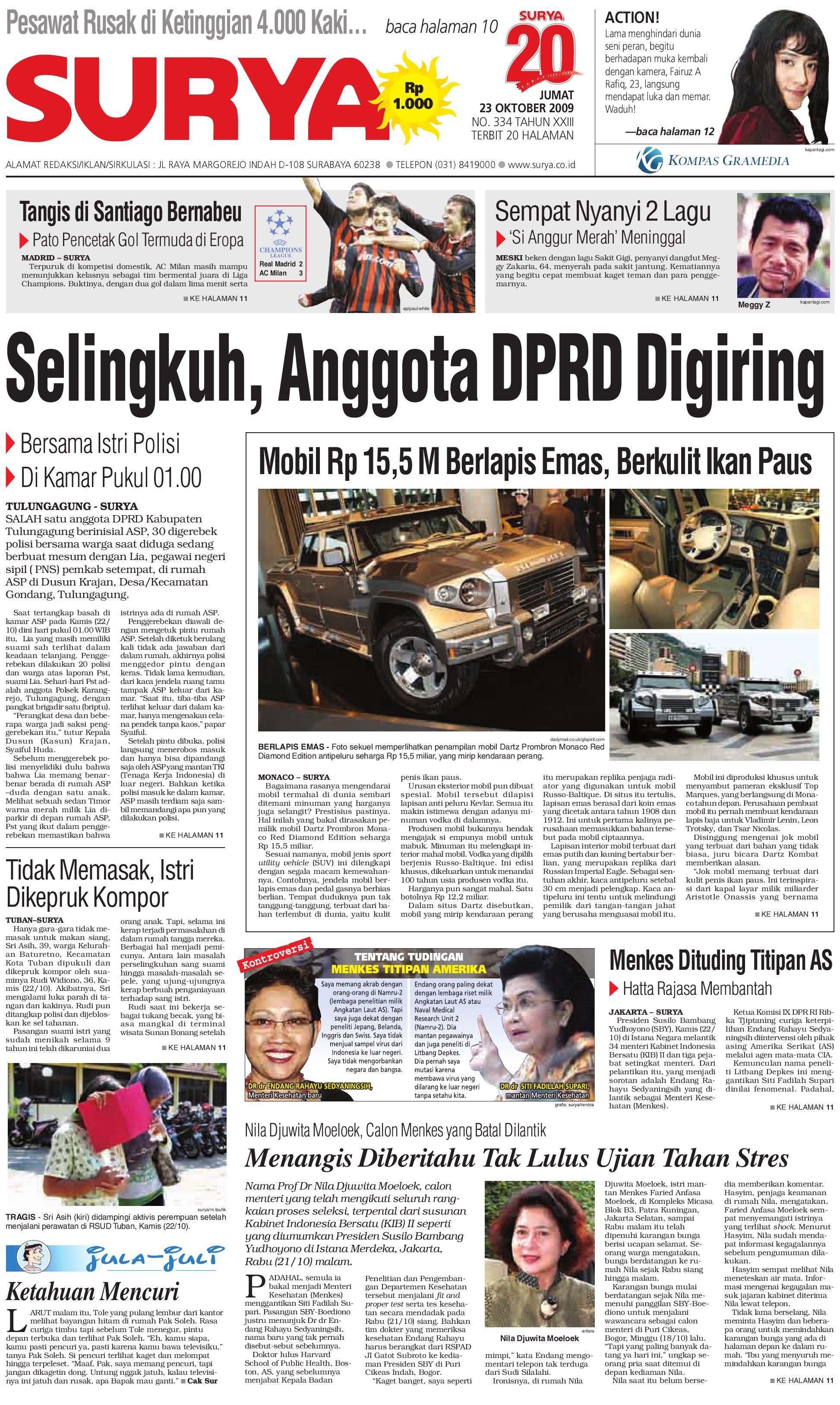 Surya Edisi Cetak 23 Okt 2009 by Harian SURYA - issuu b85cc4f913