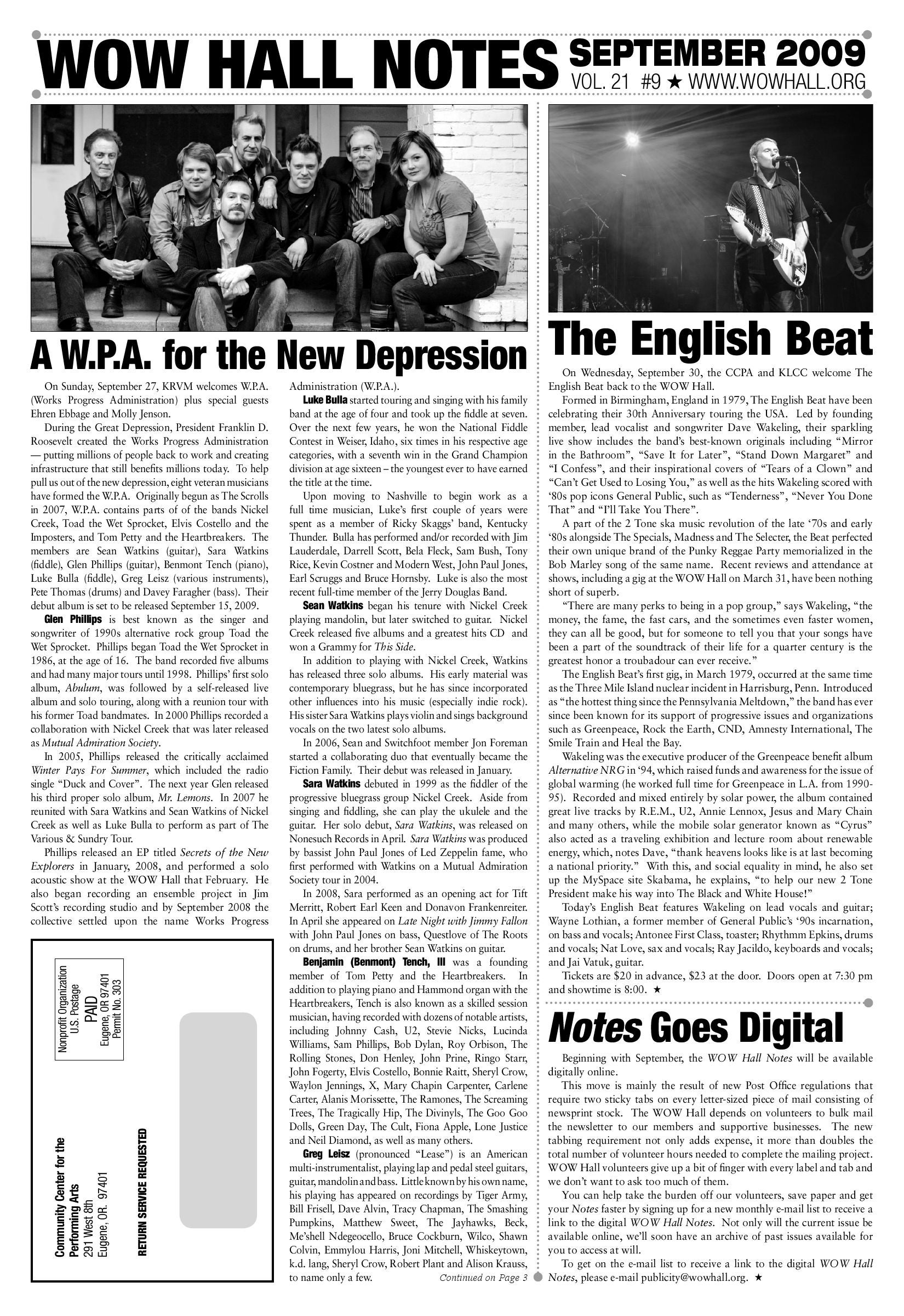WOW Hall Notes - September 2009 by WOW Hall - issuu