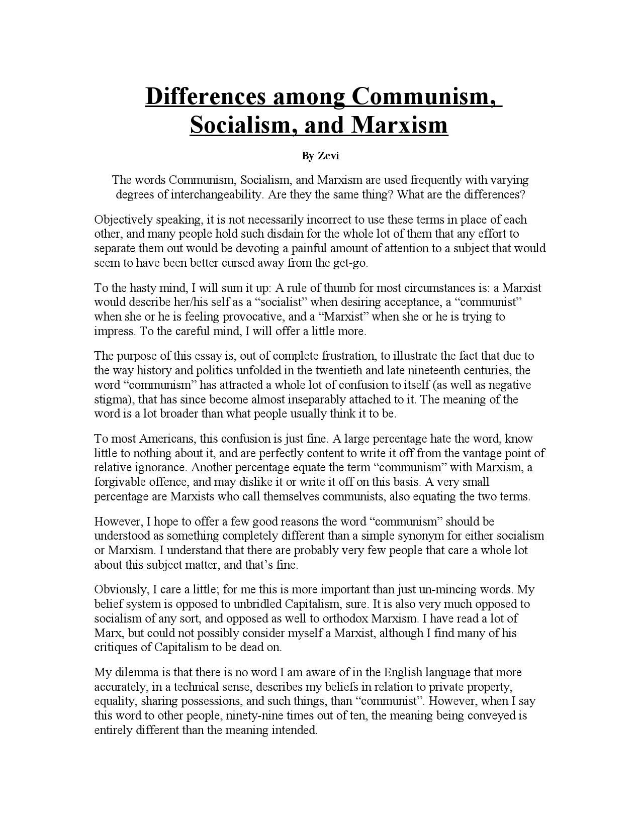 Differences among Communism, Socialism, and Marxism by