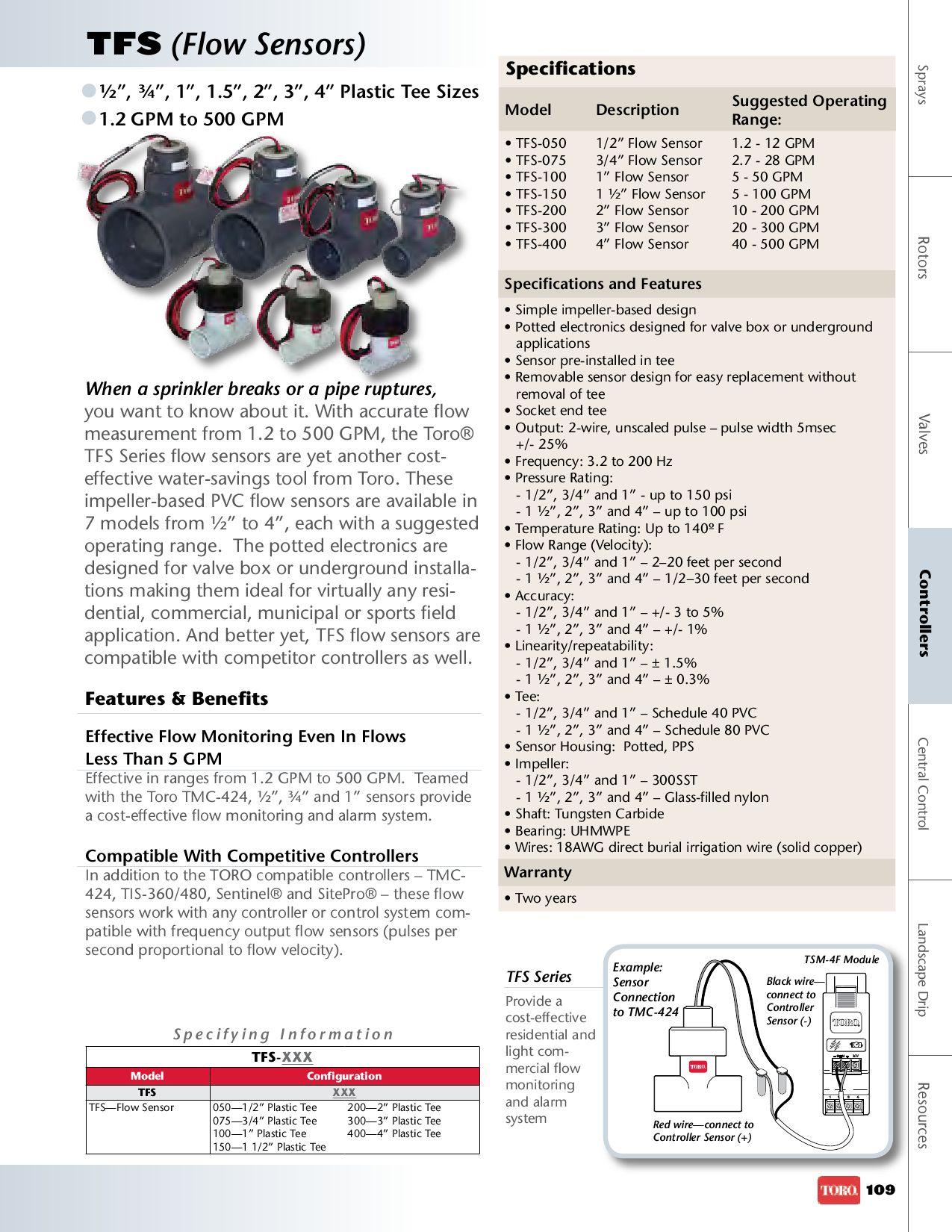 "Toro TFS-400 4/"" TFS Flow Sensor"