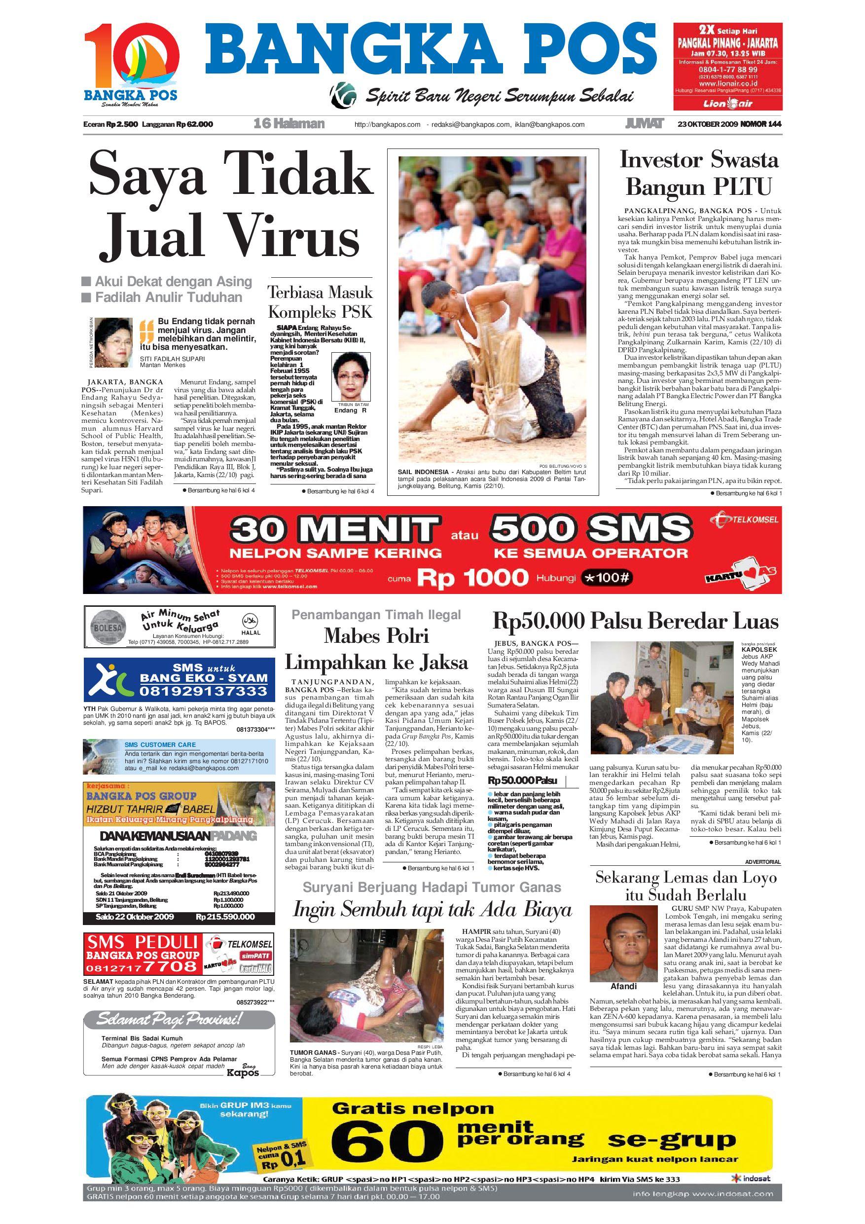 Harian Pagi Bangka Pos Edisi 23 Oktober 2009 By Bangka Pos Issuu
