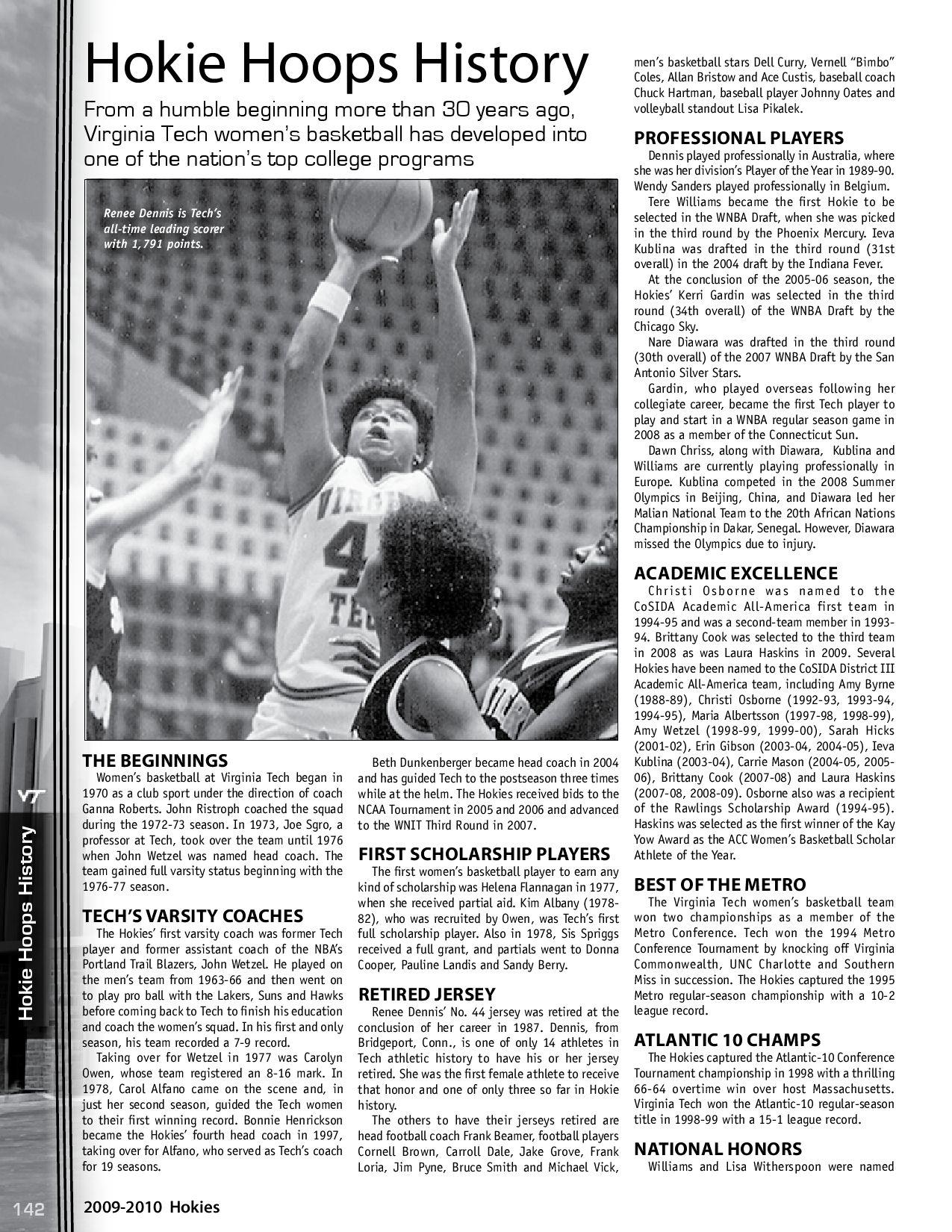 2009-10 Virginia Tech Women's Basketball Media Guide by