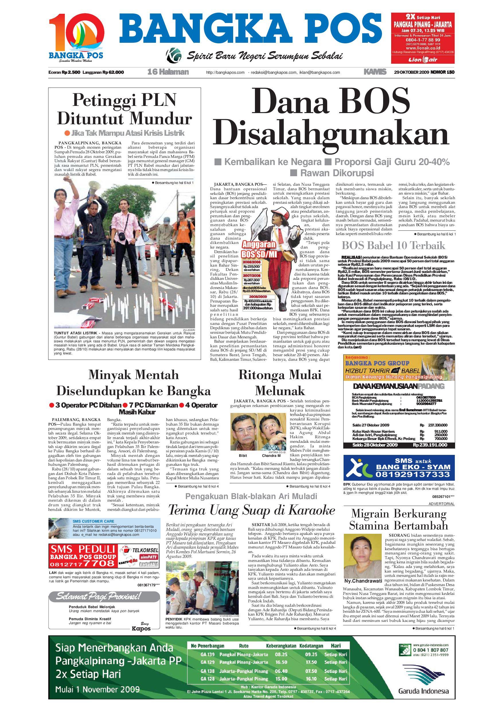 Harian Pagi Bangka Pos Edisi 29 Oktober 2009 by bangka pos - issuu 3b099d7e7c