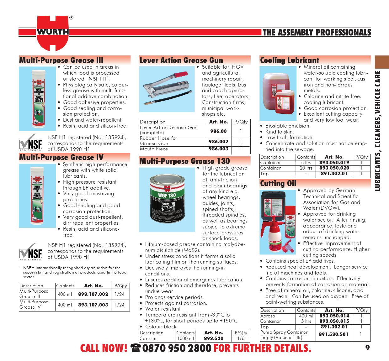 Catalogue - Lubricants, Cleaners, Vehicle Care by Würth UK