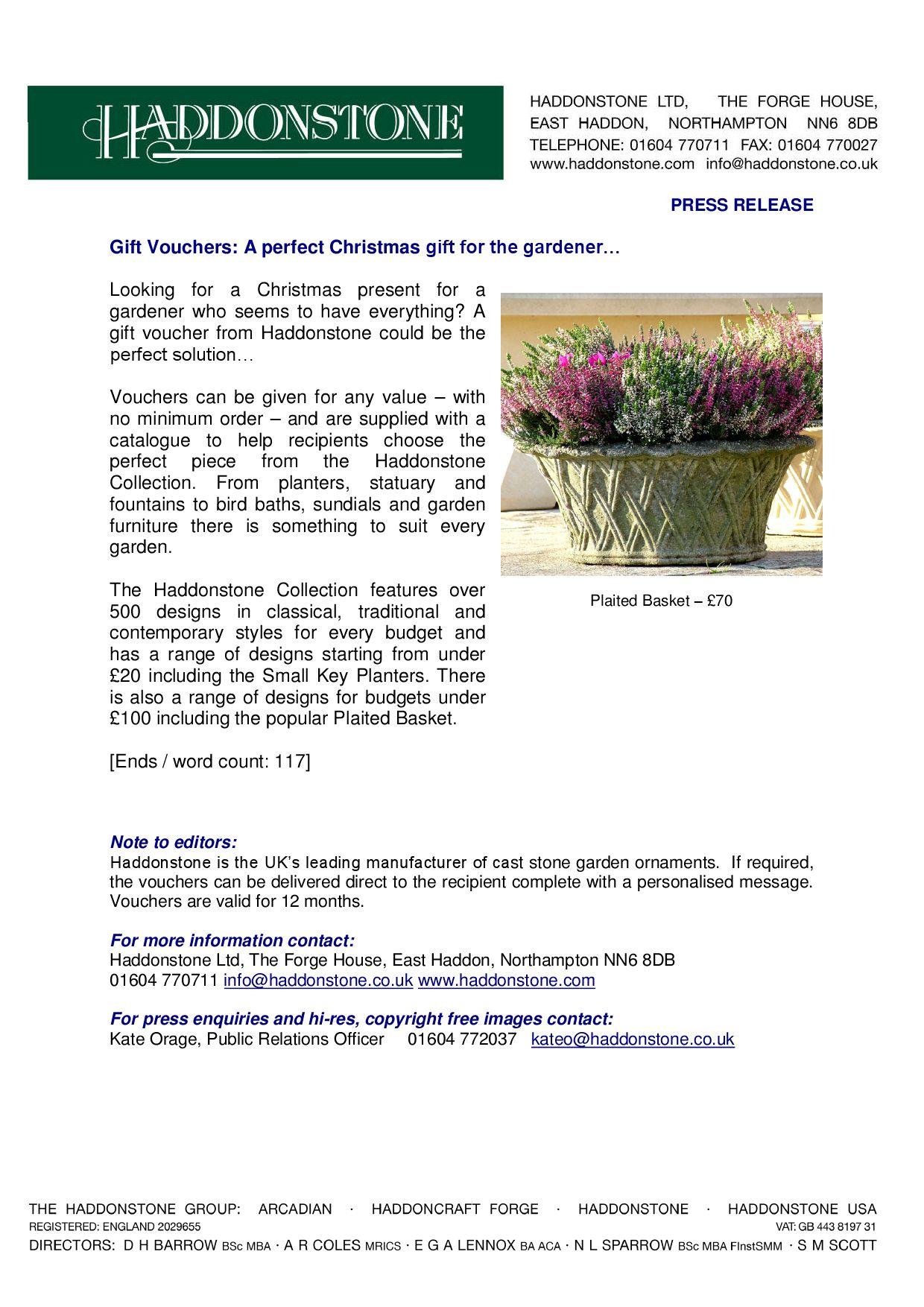 press release gift vouchers by haddonstone issuu
