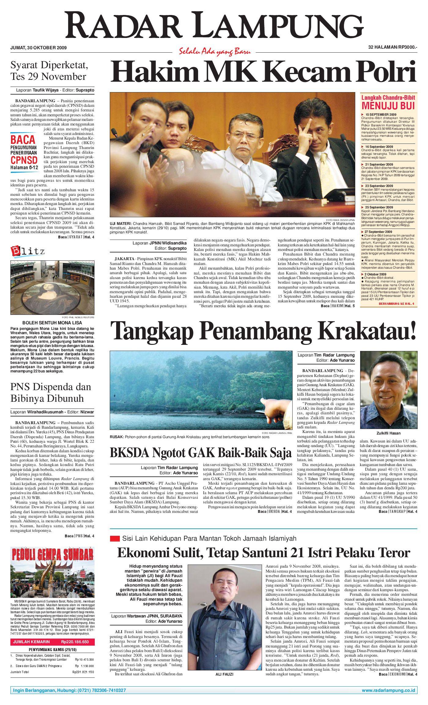 Radar Lampung Jumat 30 Oktober 2009 By Issuu Celana Pria Pendek Dry Fit Merah Cln 654