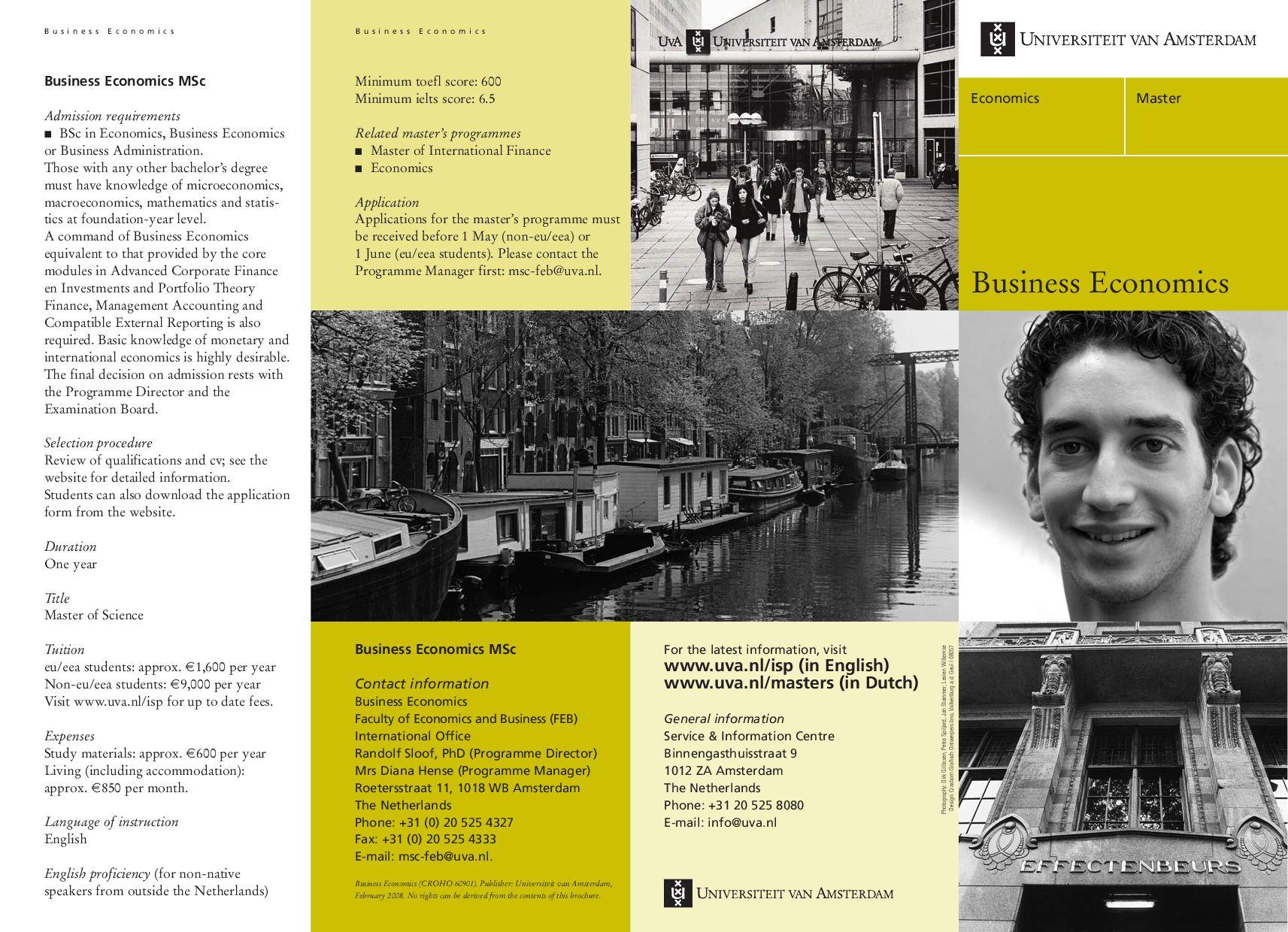 UVA FEB Master Business Econimics by University of Amsterdam, FEB