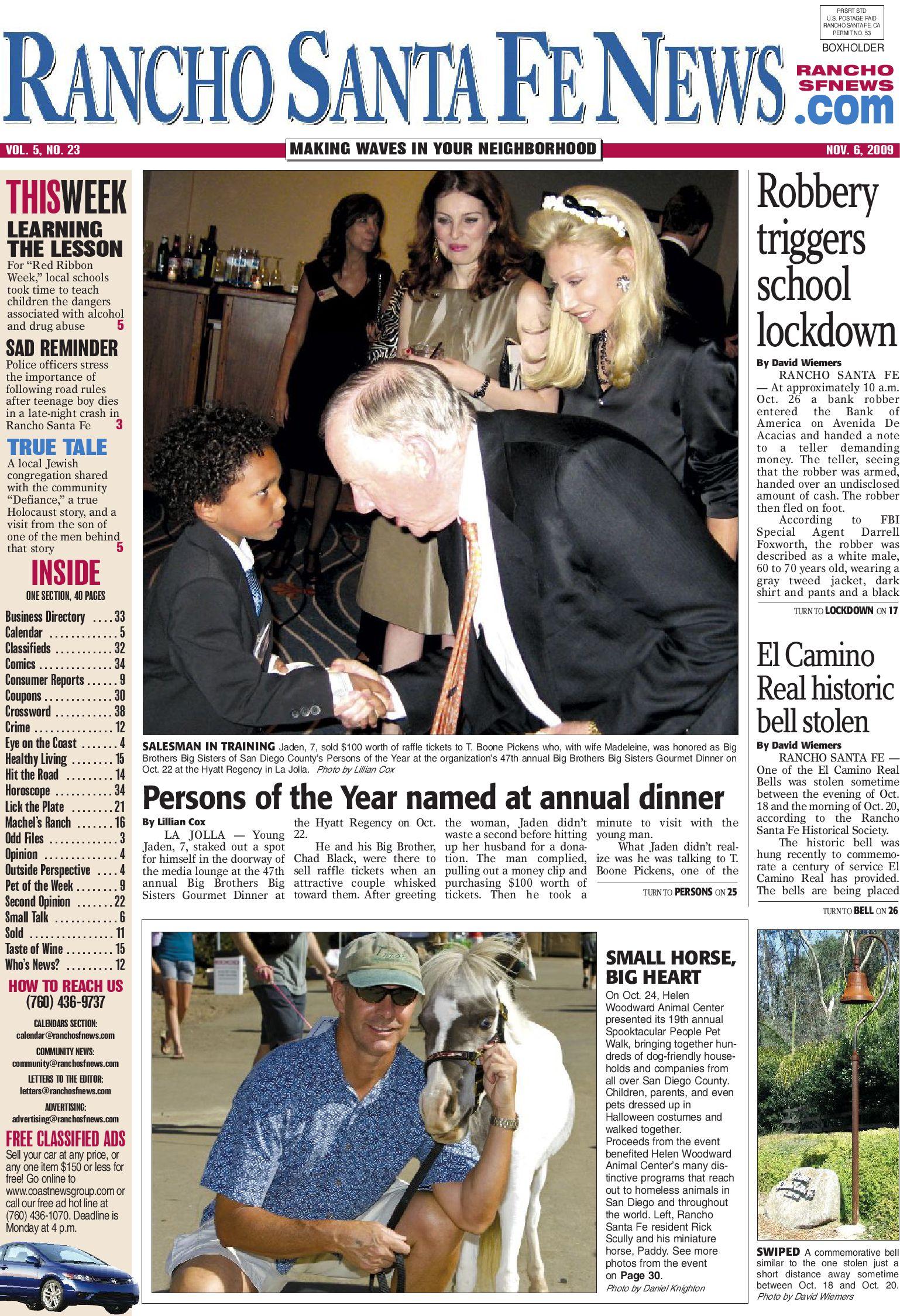 Santa Fe News >> Rancho Santa Fe News Nov 6 2009 Web By Coast News Group Issuu