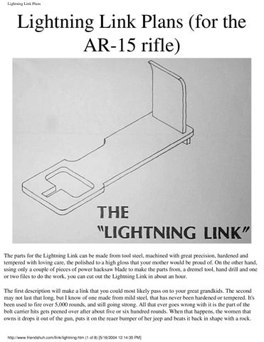 Ar15 lightning link plans by bones blade issuu for Lightning link template
